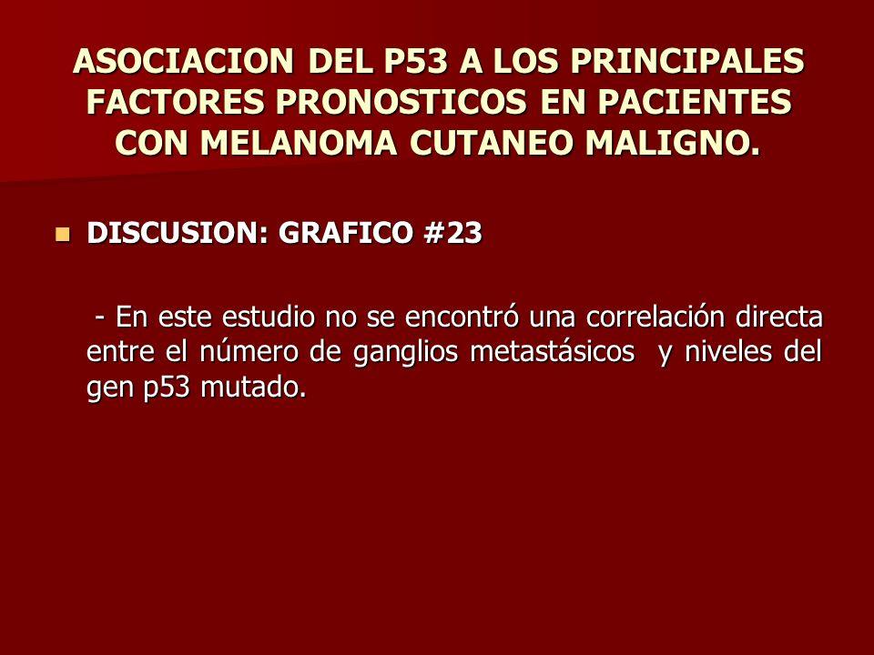 ASOCIACION DEL P53 A LOS PRINCIPALES FACTORES PRONOSTICOS EN PACIENTES CON MELANOMA CUTANEO MALIGNO. DISCUSION: GRAFICO #23 DISCUSION: GRAFICO #23 - E