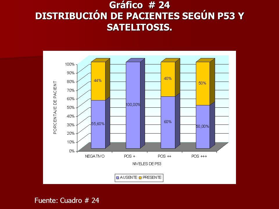 Gráfico # 24 DISTRIBUCIÓN DE PACIENTES SEGÚN P53 Y SATELITOSIS. Fuente: Cuadro # 24