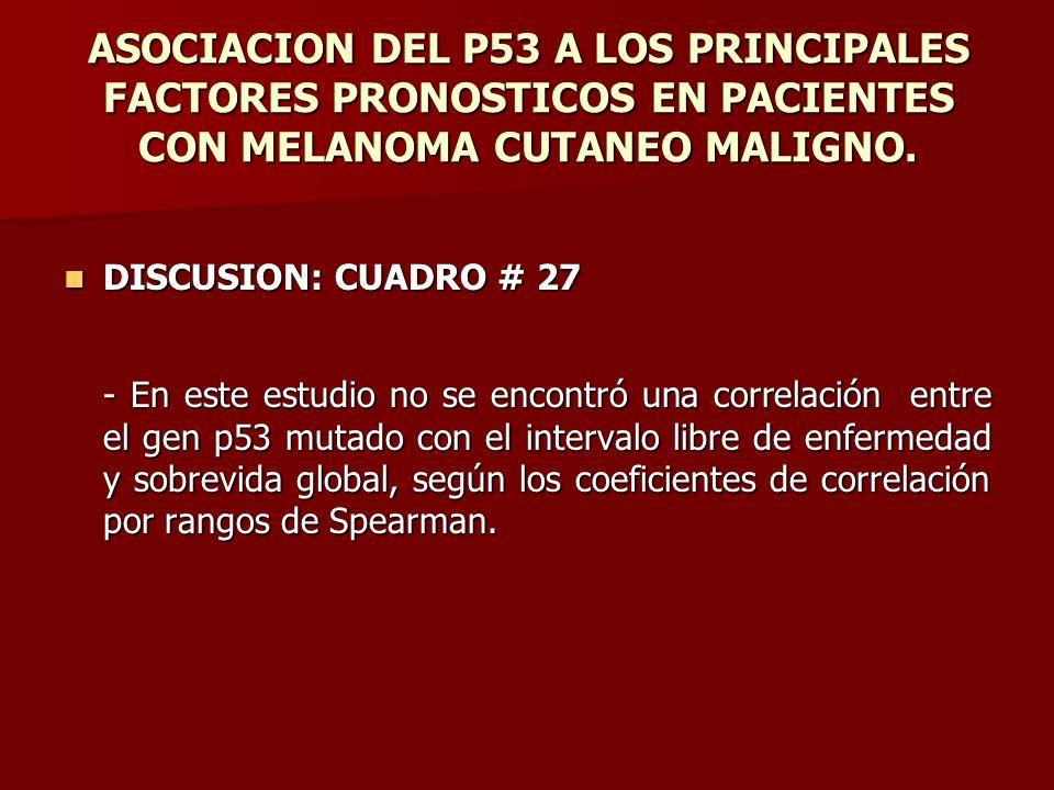 ASOCIACION DEL P53 A LOS PRINCIPALES FACTORES PRONOSTICOS EN PACIENTES CON MELANOMA CUTANEO MALIGNO. DISCUSION: CUADRO # 27 DISCUSION: CUADRO # 27 - E