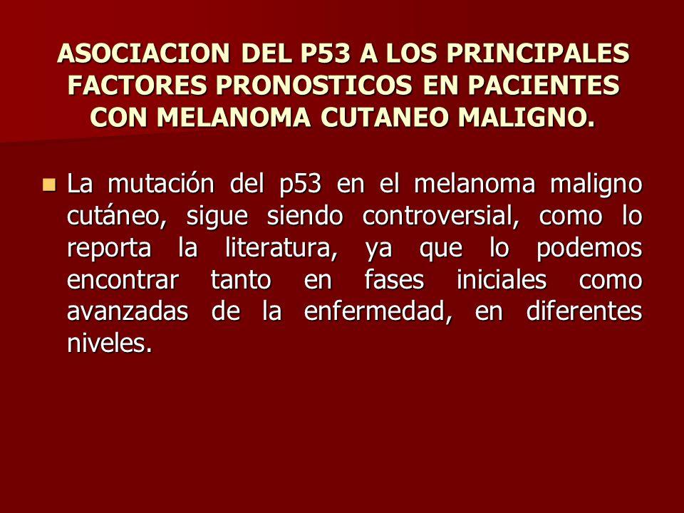 ASOCIACION DEL P53 A LOS PRINCIPALES FACTORES PRONOSTICOS EN PACIENTES CON MELANOMA CUTANEO MALIGNO. La mutación del p53 en el melanoma maligno cutáne