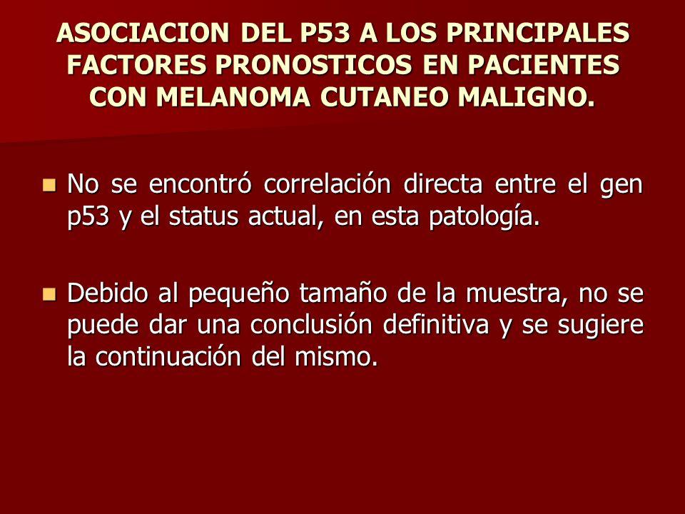 ASOCIACION DEL P53 A LOS PRINCIPALES FACTORES PRONOSTICOS EN PACIENTES CON MELANOMA CUTANEO MALIGNO. No se encontró correlación directa entre el gen p