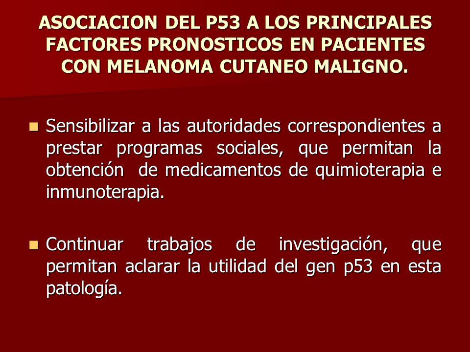 ASOCIACION DEL P53 A LOS PRINCIPALES FACTORES PRONOSTICOS EN PACIENTES CON MELANOMA CUTANEO MALIGNO. Sensibilizar a las autoridades correspondientes a