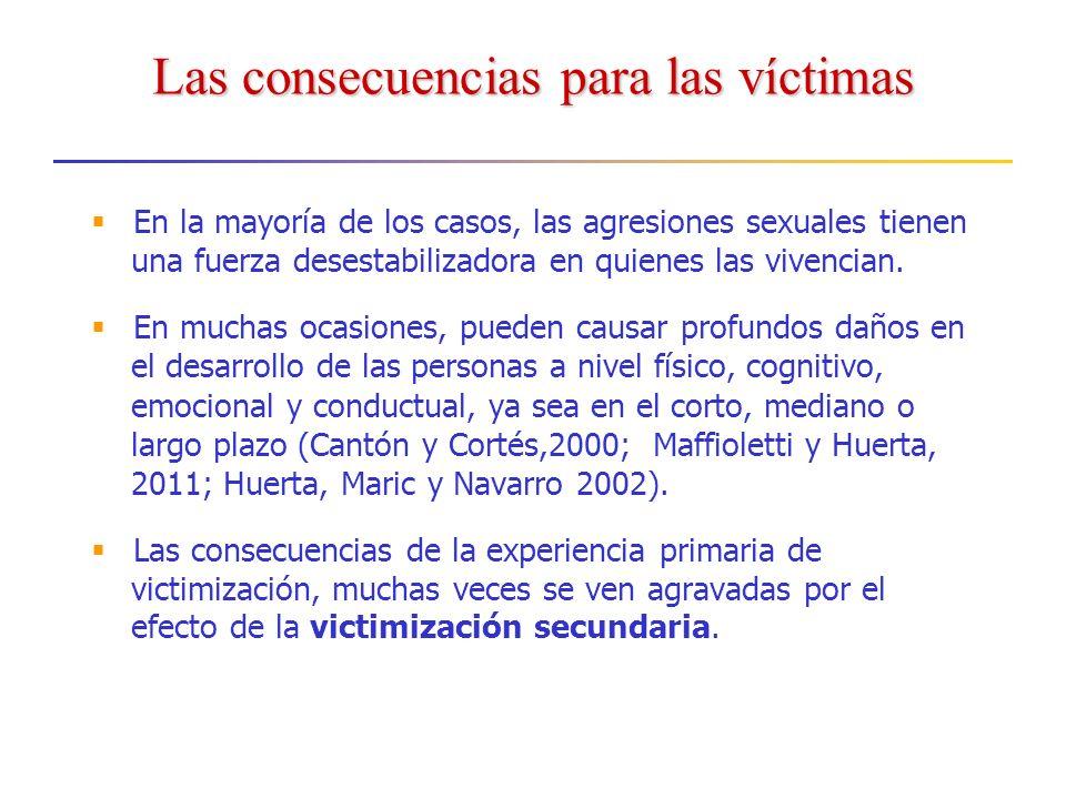 Las consecuencias para las víctimas En la mayoría de los casos, las agresiones sexuales tienen una fuerza desestabilizadora en quienes las vivencian.