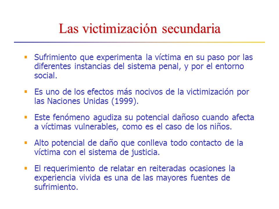 Las victimización secundaria Sufrimiento que experimenta la víctima en su paso por las diferentes instancias del sistema penal, y por el entorno social.