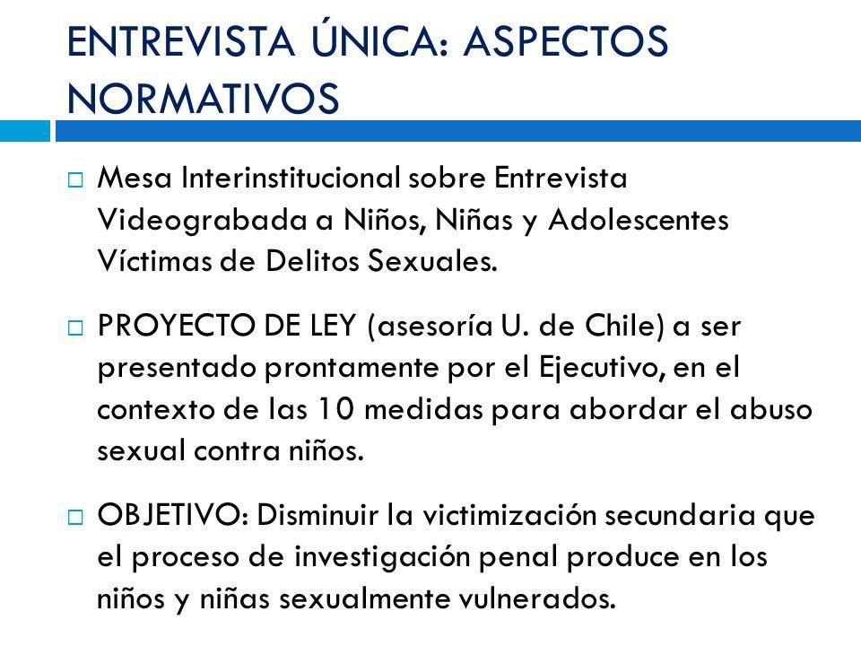 ENTREVISTA ÚNICA: ASPECTOS NORMATIVOS Mesa Interinstitucional sobre Entrevista Videograbada a Niños, Niñas y Adolescentes Víctimas de Delitos Sexuales.