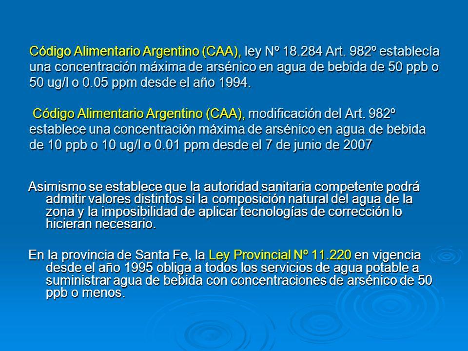 Código Alimentario Argentino (CAA), ley Nº 18.284 Art. 982º establecía una concentración máxima de arsénico en agua de bebida de 50 ppb o 50 ug/l o 0.