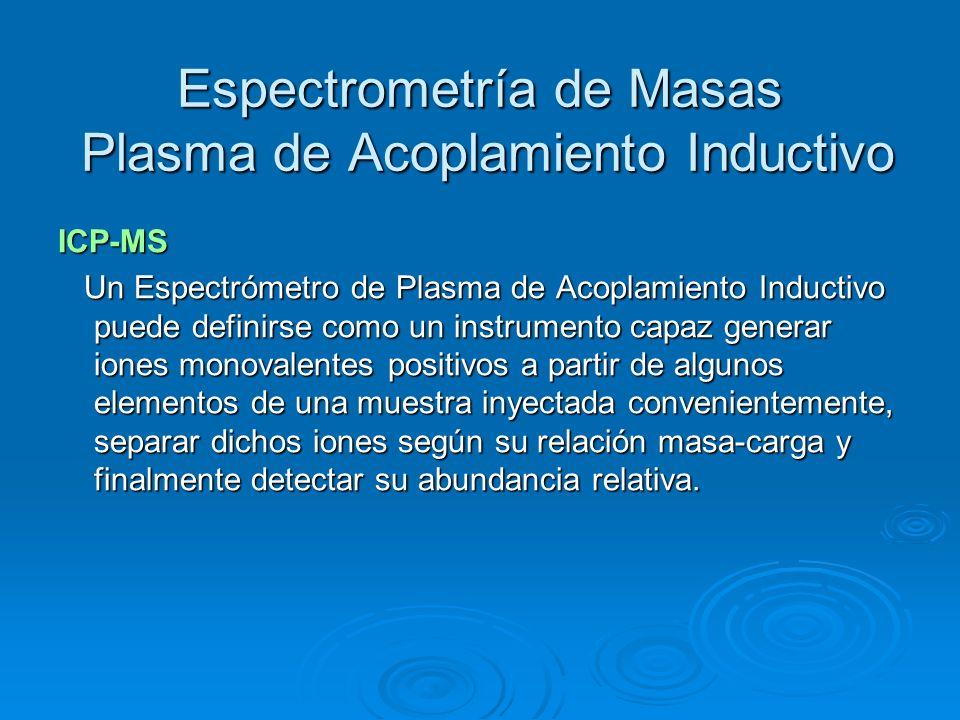 Espectrometría de Masas Plasma de Acoplamiento Inductivo ICP-MS Un Espectrómetro de Plasma de Acoplamiento Inductivo puede definirse como un instrumen