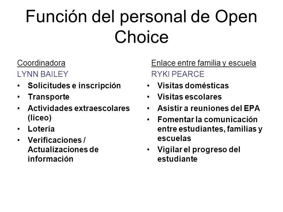 Directora de Desarollo Carolyn McNally Adminstradora del Programa Open Choice Función del personal de Open Choice