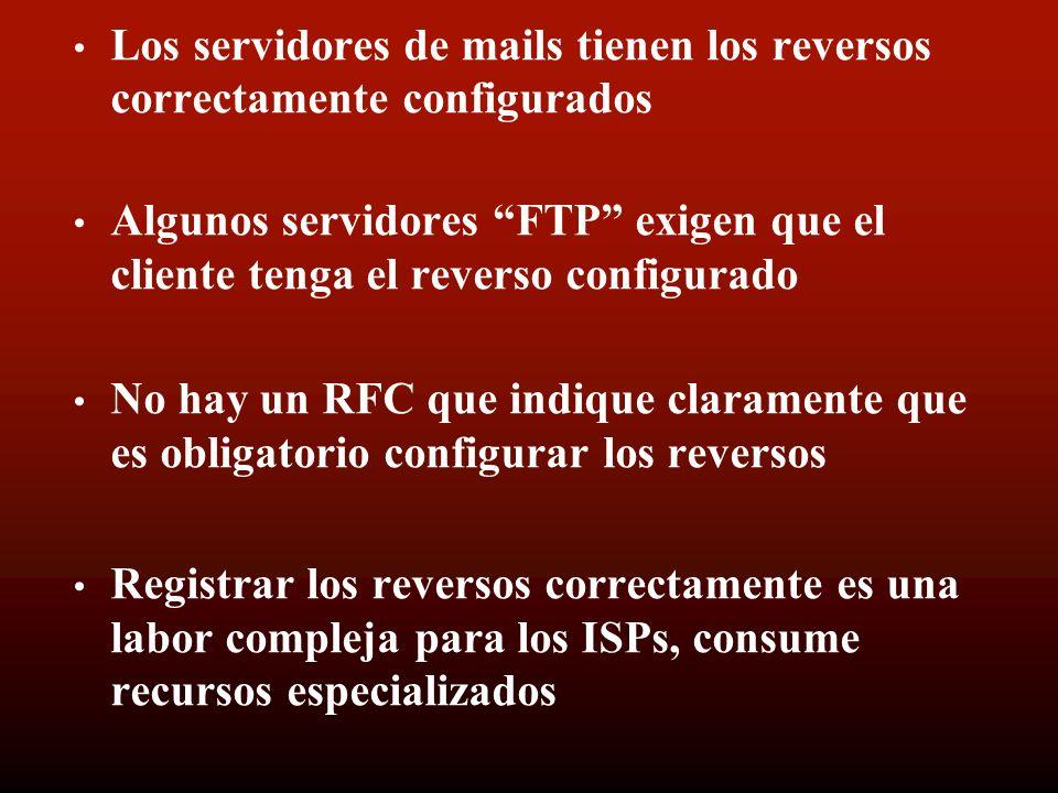 Los servidores de mails tienen los reversos correctamente configurados Algunos servidores FTP exigen que el cliente tenga el reverso configurado No hay un RFC que indique claramente que es obligatorio configurar los reversos Registrar los reversos correctamente es una labor compleja para los ISPs, consume recursos especializados