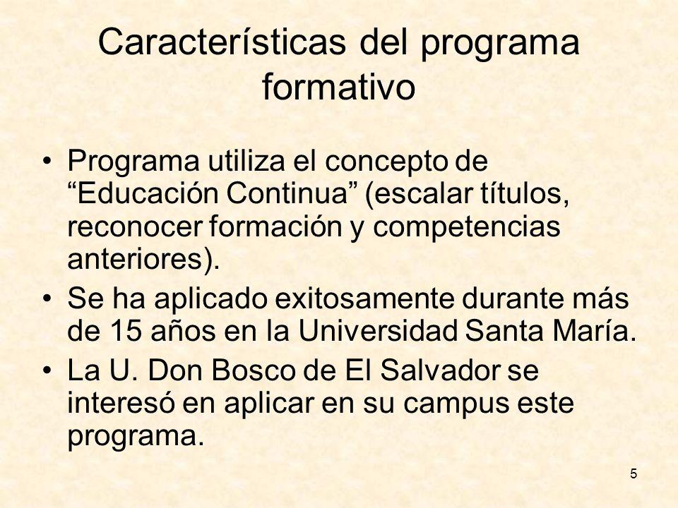 5 Características del programa formativo Programa utiliza el concepto de Educación Continua (escalar títulos, reconocer formación y competencias anter
