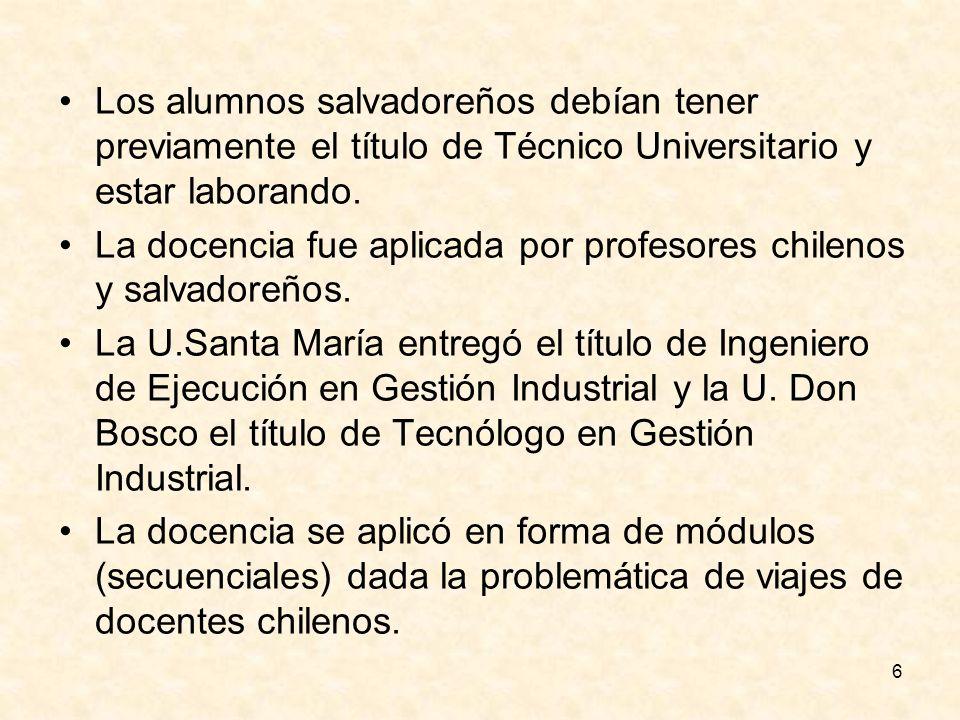 6 Los alumnos salvadoreños debían tener previamente el título de Técnico Universitario y estar laborando. La docencia fue aplicada por profesores chil