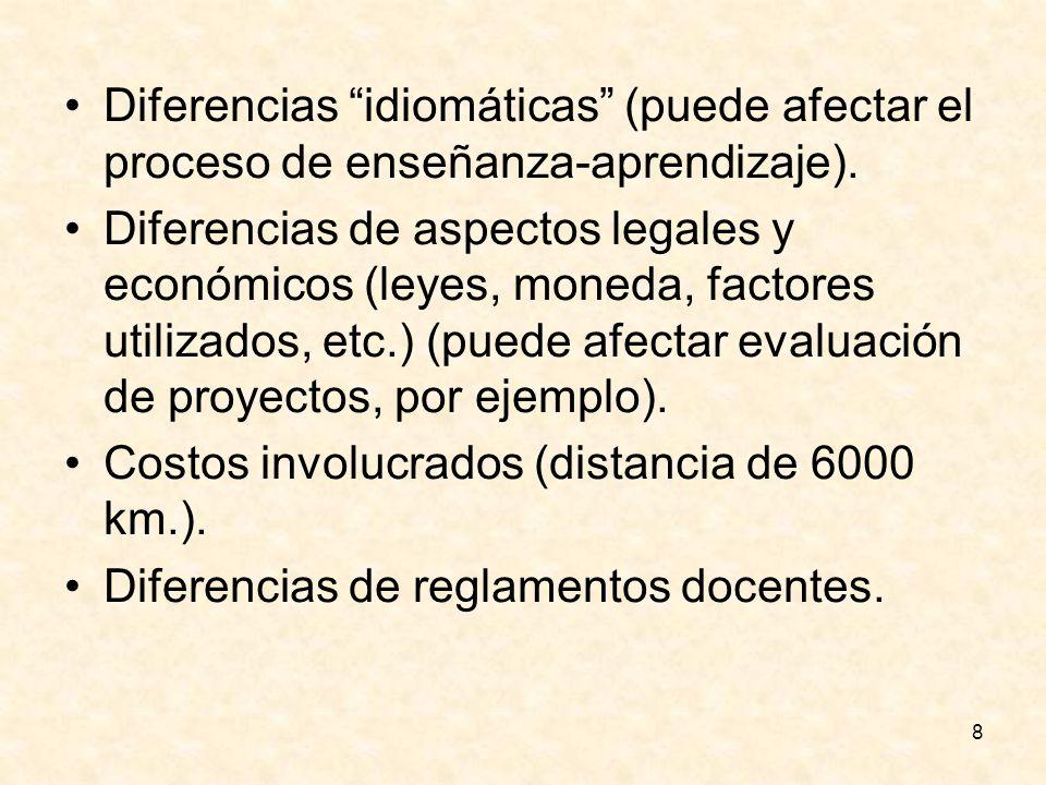 8 Diferencias idiomáticas (puede afectar el proceso de enseñanza-aprendizaje). Diferencias de aspectos legales y económicos (leyes, moneda, factores u