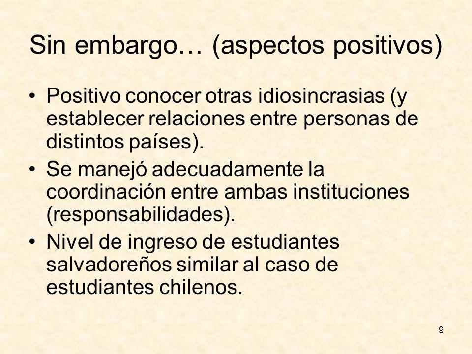 9 Sin embargo… (aspectos positivos) Positivo conocer otras idiosincrasias (y establecer relaciones entre personas de distintos países). Se manejó adec