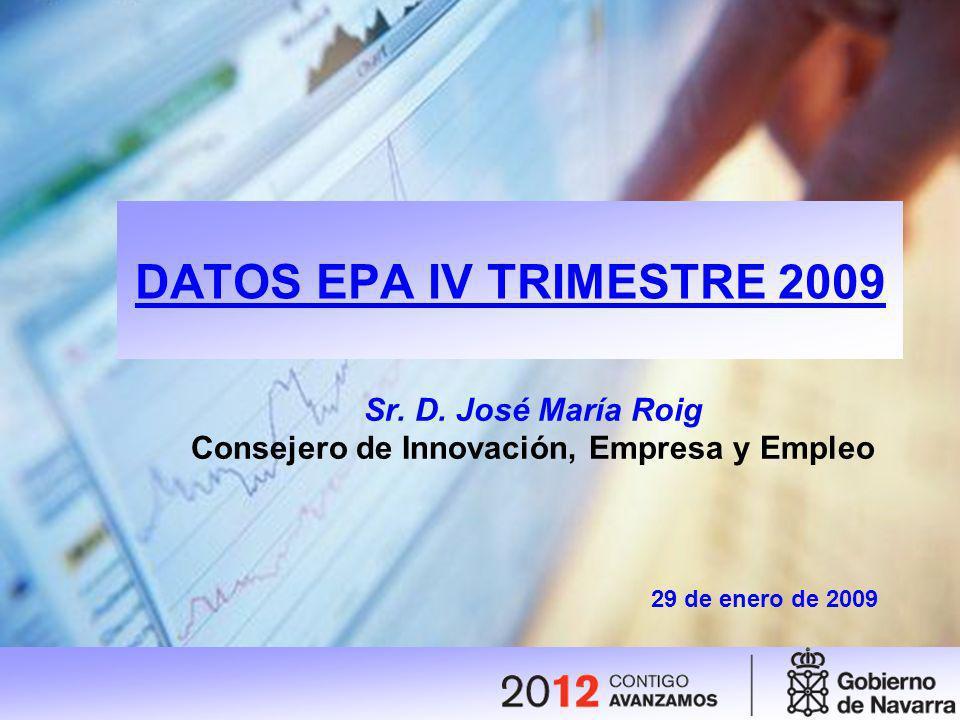 DATOS EPA IV TRIMESTRE 2009 Sr. D. José María Roig Consejero de Innovación, Empresa y Empleo 29 de enero de 2009