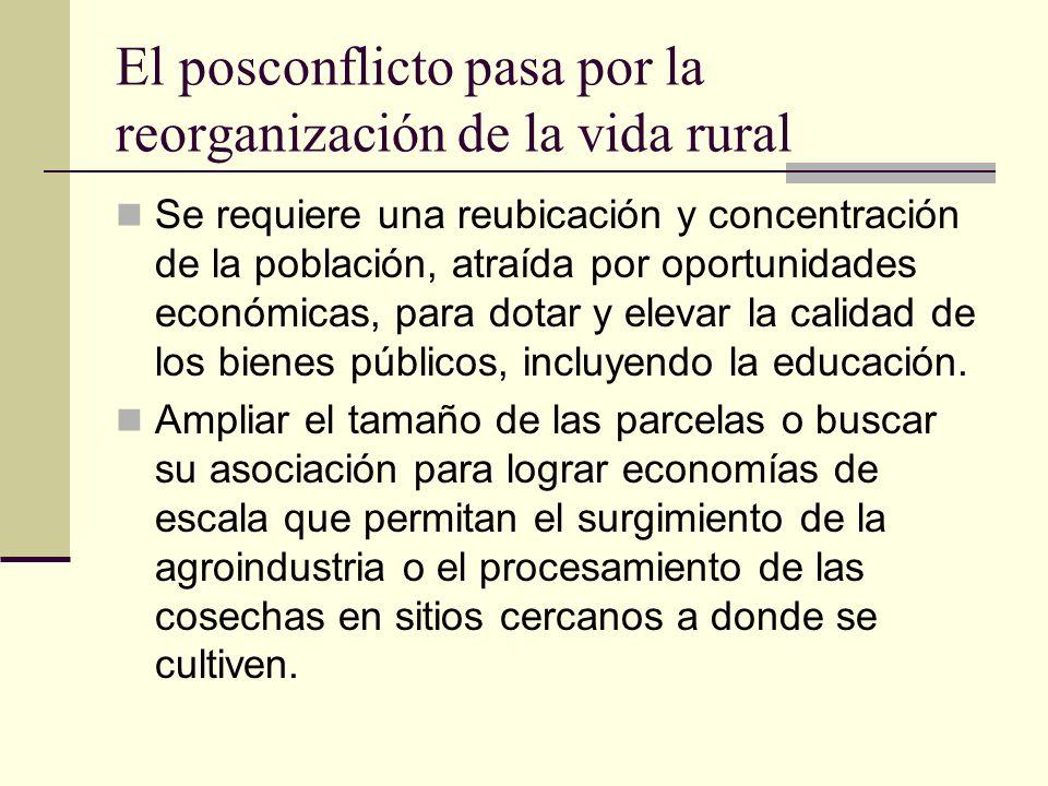 El posconflicto pasa por la reorganización de la vida rural Se requiere una reubicación y concentración de la población, atraída por oportunidades eco