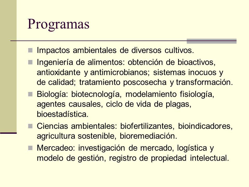 Programas Impactos ambientales de diversos cultivos. Ingeniería de alimentos: obtención de bioactivos, antioxidante y antimicrobianos; sistemas inocuo