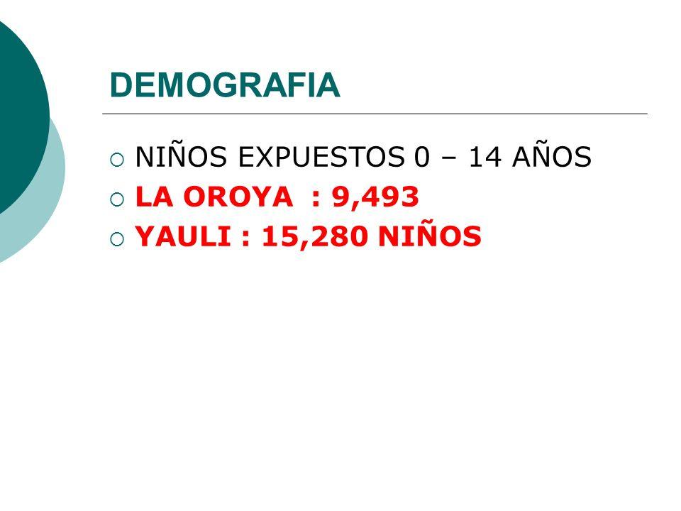 DEMOGRAFIA NIÑOS EXPUESTOS 0 – 14 AÑOS LA OROYA : 9,493 YAULI : 15,280 NIÑOS