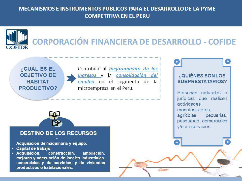 CORPORACIÓN FINANCIERA DE DESARROLLO - COFIDE Contribuir al mejoramiento de los ingresos y la consolidación del empleo en el segmento de la microempresa en el Perú.