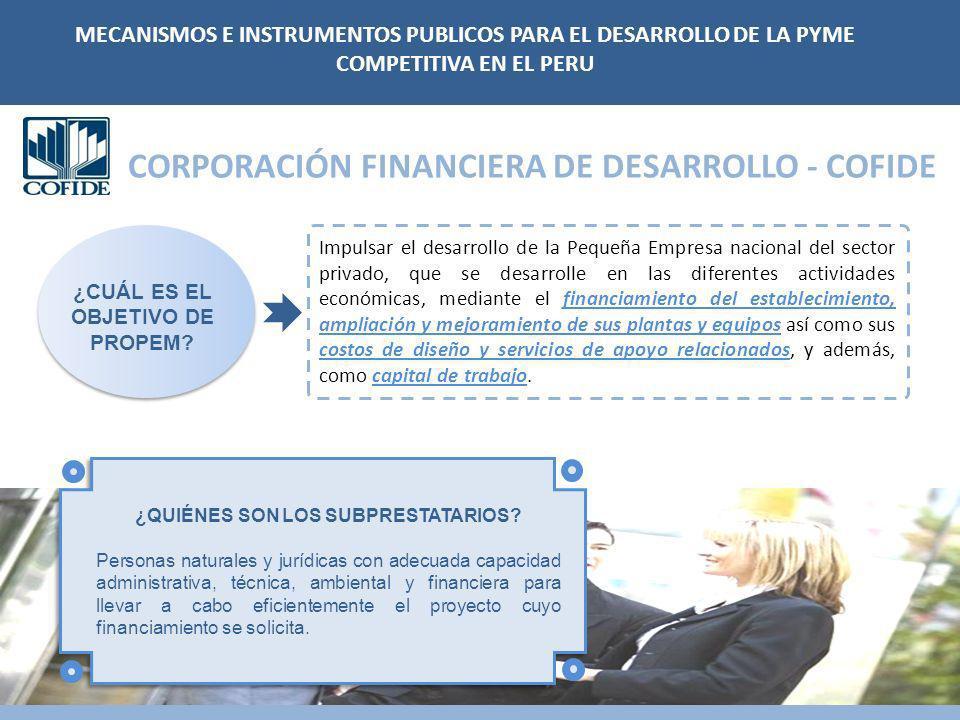 CORPORACIÓN FINANCIERA DE DESARROLLO - COFIDE Impulsar el desarrollo de la Pequeña Empresa nacional del sector privado, que se desarrolle en las difer
