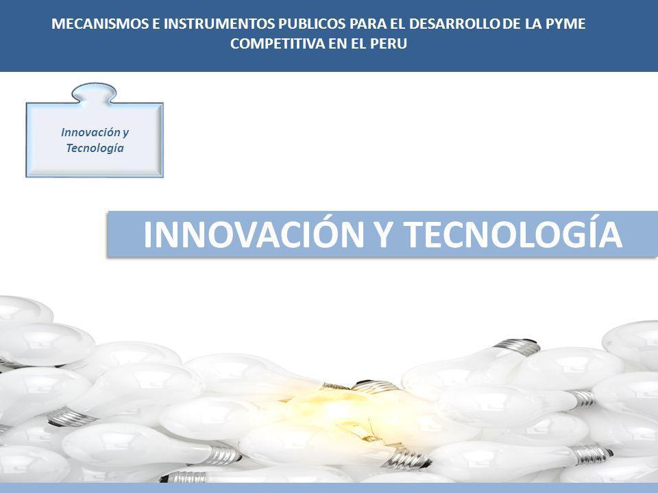 Innovación y Tecnología INNOVACIÓN Y TECNOLOGÍA MECANISMOS E INSTRUMENTOS PUBLICOS PARA EL DESARROLLO DE LA PYME COMPETITIVA EN EL PERU