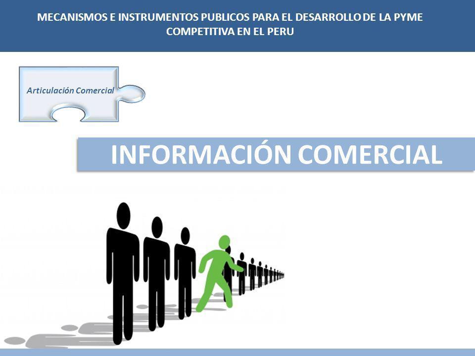 INFORMACIÓN COMERCIAL Articulación Comercial MECANISMOS E INSTRUMENTOS PUBLICOS PARA EL DESARROLLO DE LA PYME COMPETITIVA EN EL PERU
