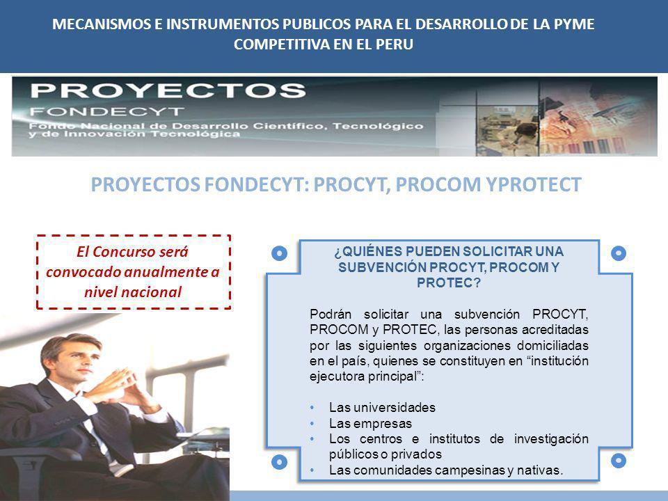 MECANISMOS E INSTRUMENTOS PUBLICOS PARA EL DESARROLLO DE LA PYME COMPETITIVA EN EL PERU Los beneficiarios deberá comprometerse a que no menos del 25%