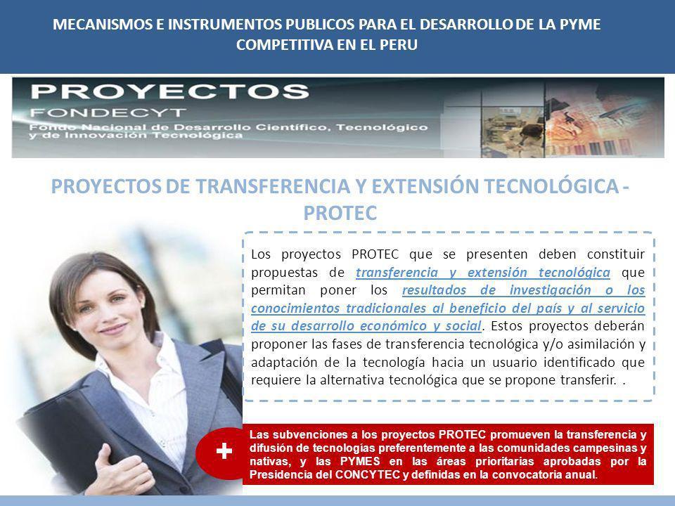 MECANISMOS E INSTRUMENTOS PUBLICOS PARA EL DESARROLLO DE LA PYME COMPETITIVA EN EL PERU PROYECTOS DE TRANSFERENCIA Y EXTENSIÓN TECNOLÓGICA - PROTEC Los proyectos PROTEC que se presenten deben constituir propuestas de transferencia y extensión tecnológica que permitan poner los resultados de investigación o los conocimientos tradicionales al beneficio del país y al servicio de su desarrollo económico y social.