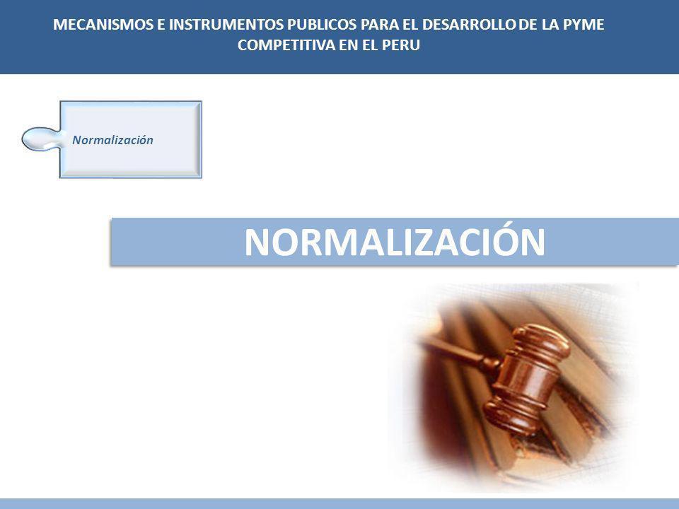 NORMALIZACIÓN Normalización MECANISMOS E INSTRUMENTOS PUBLICOS PARA EL DESARROLLO DE LA PYME COMPETITIVA EN EL PERU