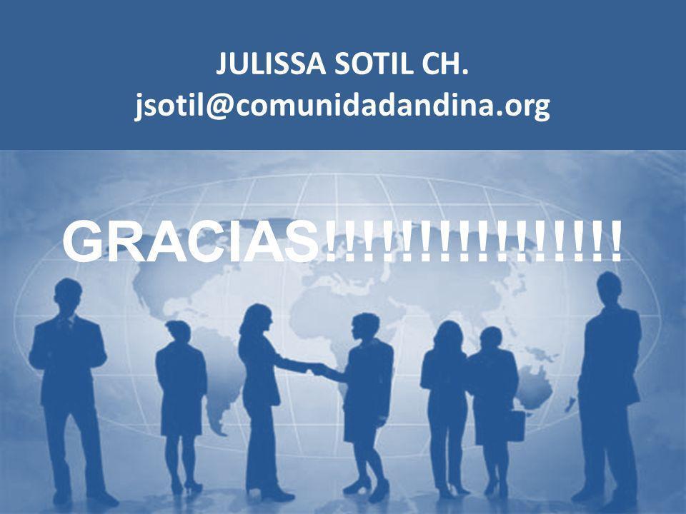 JULISSA SOTIL CH. jsotil@comunidadandina.org GRACIAS!!!!!!!!!!!!!!!!