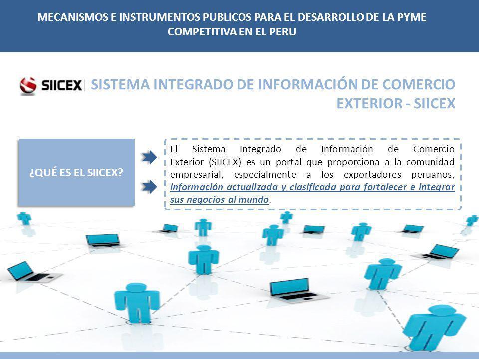 ¿QUÉ ES EL SIICEX? El Sistema Integrado de Información de Comercio Exterior (SIICEX) es un portal que proporciona a la comunidad empresarial, especial