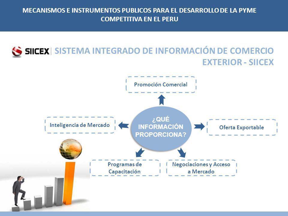 SISTEMA INTEGRADO DE INFORMACIÓN DE COMERCIO EXTERIOR - SIICEX Inteligencia de Mercado Promoción Comercial Oferta Exportable Negociaciones y Acceso a Mercado Programas de Capacitación ¿QUÉ INFORMACIÓN PROPORCIONA.