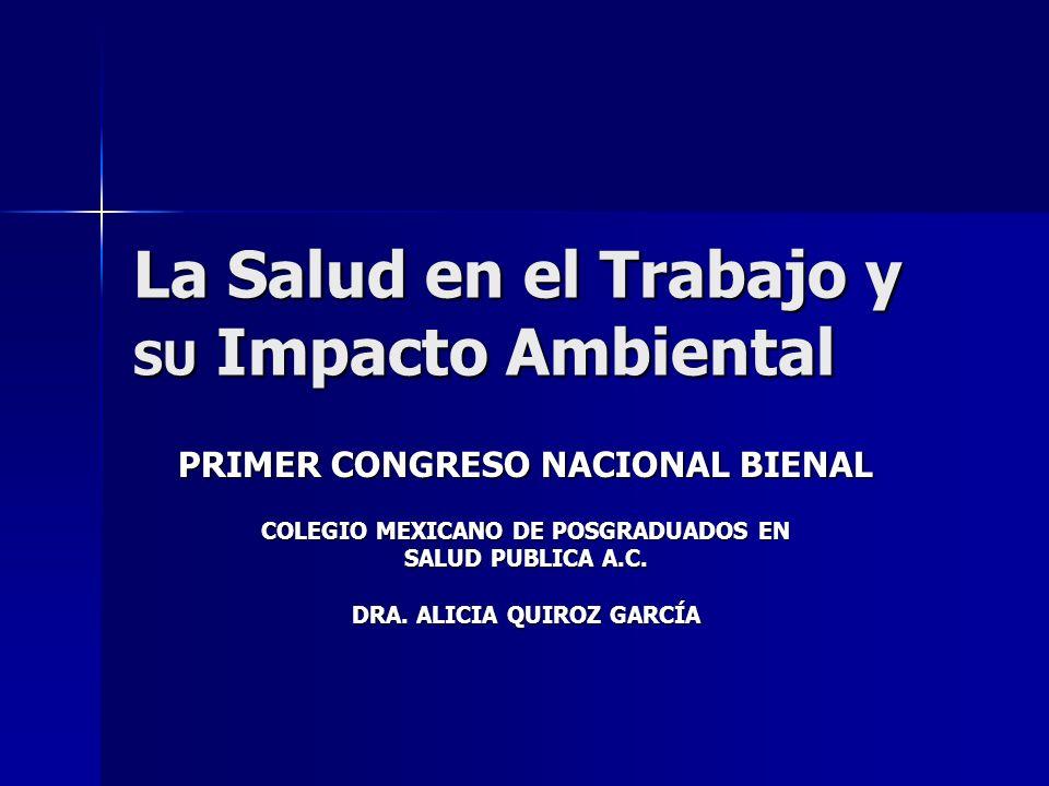 La Salud en el Trabajo y SU Impacto Ambiental PRIMER CONGRESO NACIONAL BIENAL COLEGIO MEXICANO DE POSGRADUADOS EN SALUD PUBLICA A.C. DRA. ALICIA QUIRO
