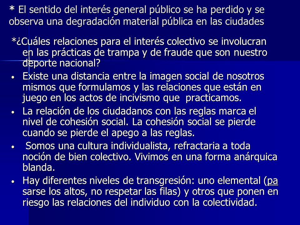 * El sentido del interés general público se ha perdido y se observa una degradación material pública en las ciudades *¿Cuáles relaciones para el inter