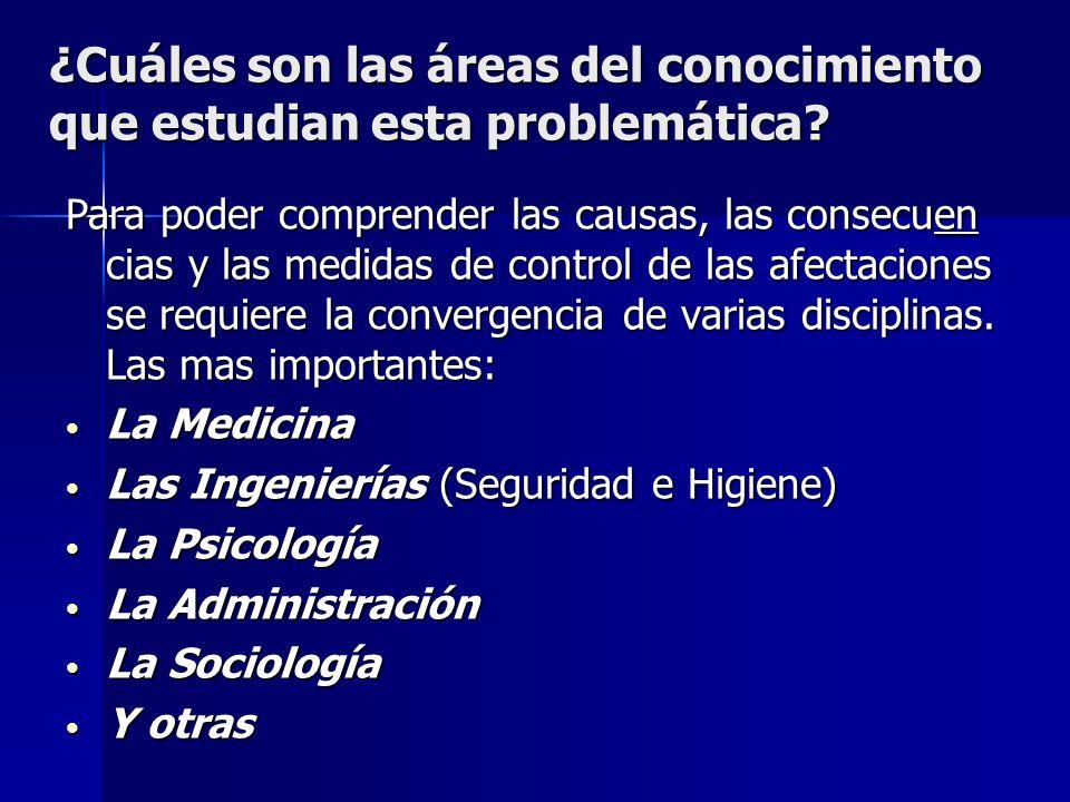 ¿Cuáles son las áreas del conocimiento que estudian esta problemática? Para poder comprender las causas, las consecuen cias y las medidas de control d