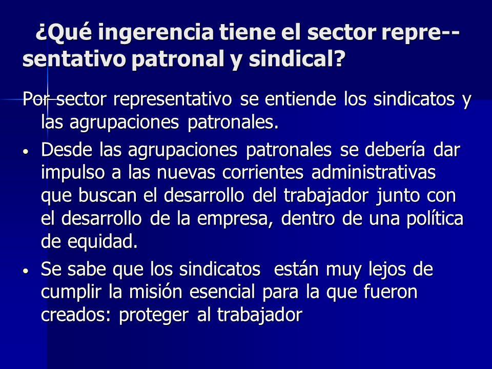 ¿Qué ingerencia tiene el sector repre-- sentativo patronal y sindical? ¿Qué ingerencia tiene el sector repre-- sentativo patronal y sindical? Por sect