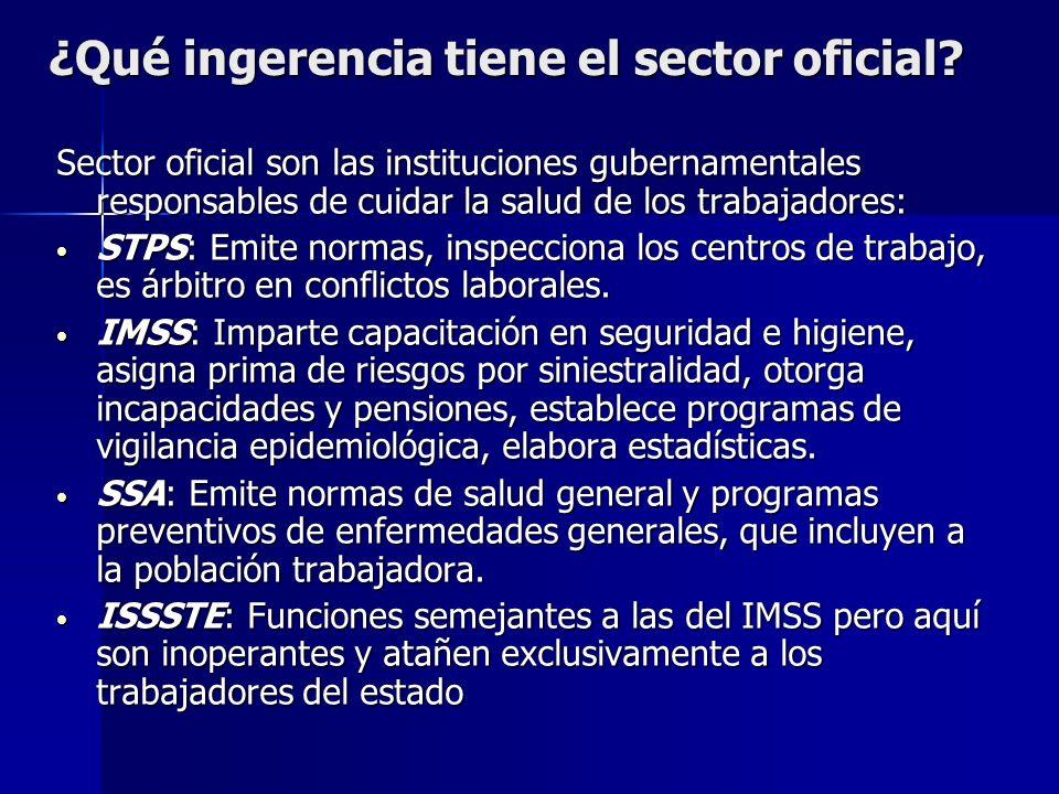¿Qué ingerencia tiene el sector oficial? Sector oficial son las instituciones gubernamentales responsables de cuidar la salud de los trabajadores: STP