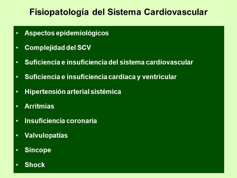 Fisiopatología del Sistema Cardiovascular Aspectos epidemiológicos Complejidad del SCV Suficiencia e insuficiencia del sistema cardiovascular Suficien