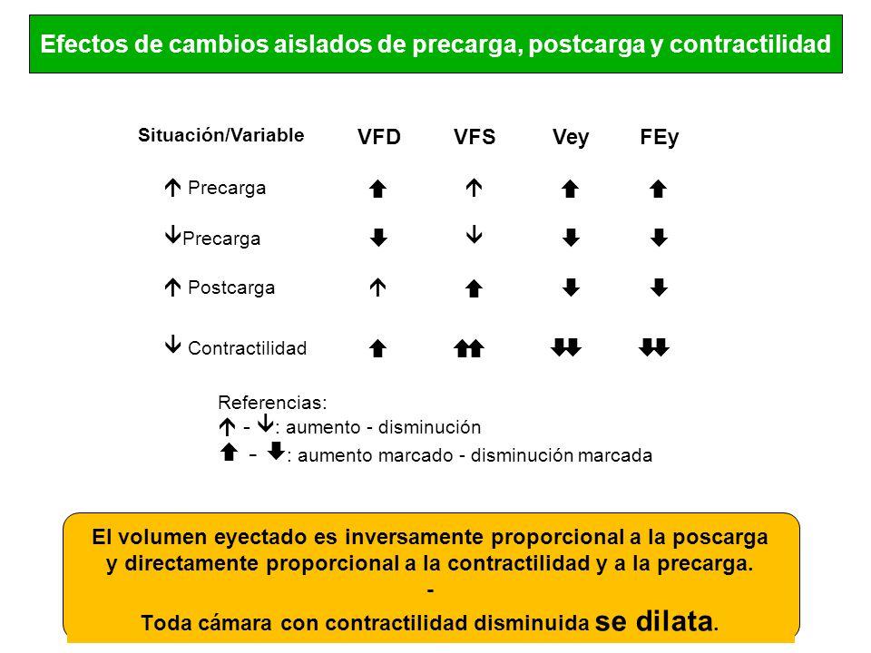 Efectos de cambios aislados de precarga, postcarga y contractilidad Situación/Variable VFDVFSVeyFEy Precarga Precarga Postcarga Contractilidad Referen