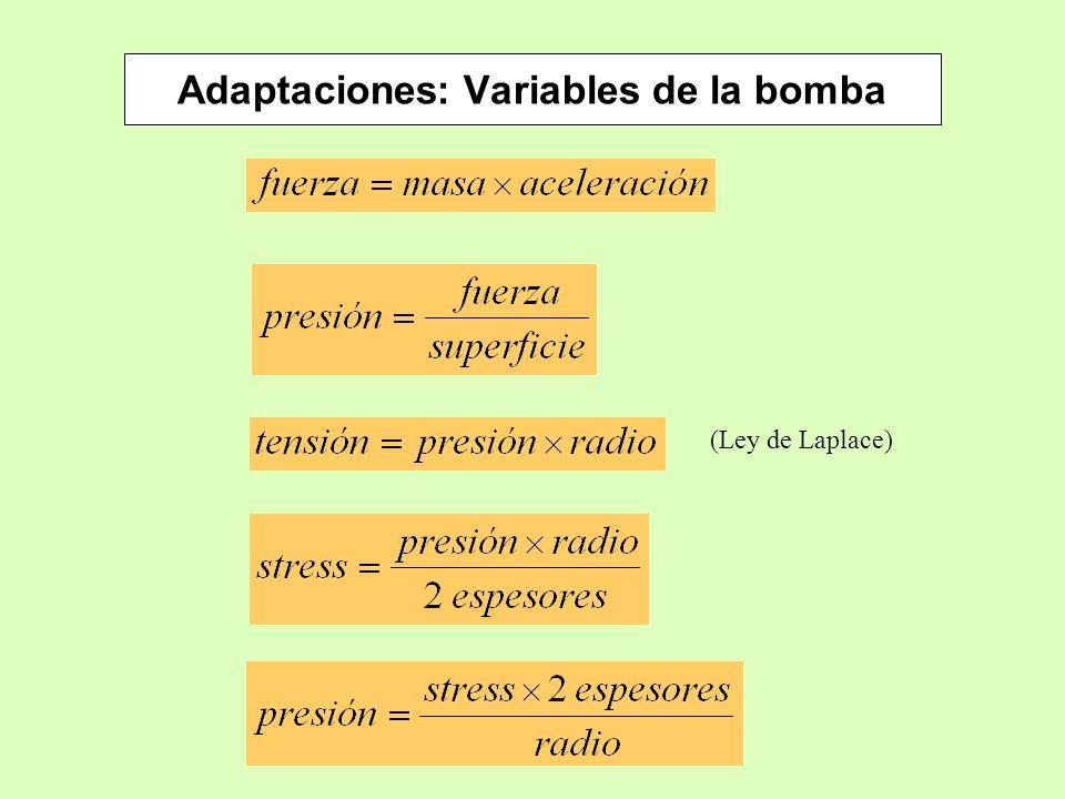 Adaptaciones: Variables de la bomba (Ley de Laplace)