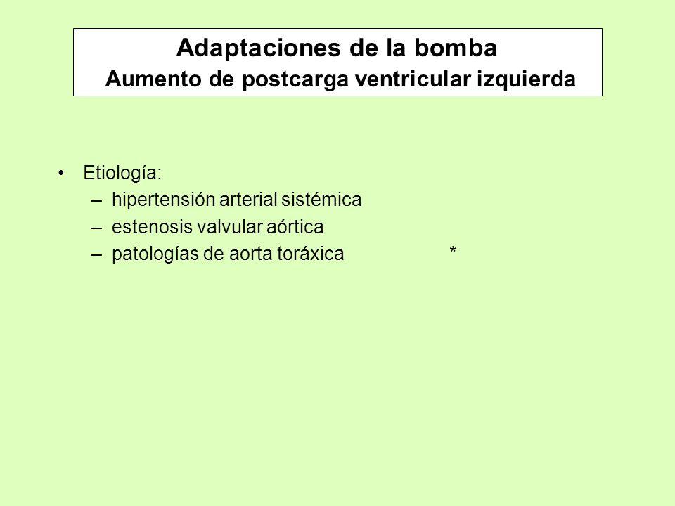 Adaptaciones de la bomba Aumento de postcarga ventricular izquierda Etiología: –hipertensión arterial sistémica –estenosis valvular aórtica –patología