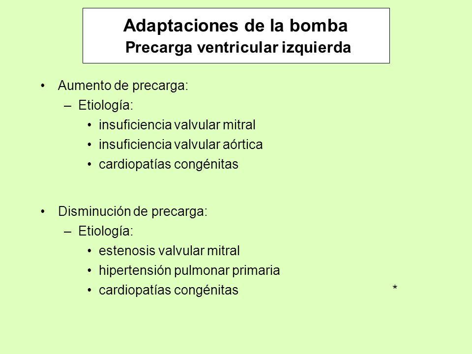 Adaptaciones de la bomba Precarga ventricular izquierda Aumento de precarga: –Etiología: insuficiencia valvular mitral insuficiencia valvular aórtica