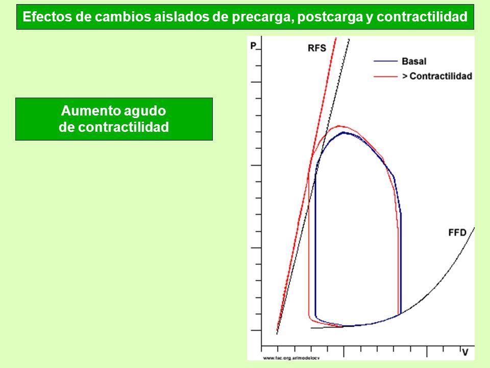 Efectos de cambios aislados de precarga, postcarga y contractilidad Aumento agudo de contractilidad