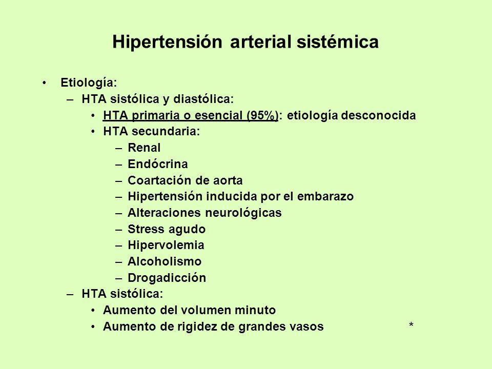 Hipertensión arterial sistémica Etiología: –HTA sistólica y diastólica: HTA primaria o esencial (95%): etiología desconocida HTA secundaria: –Renal –E