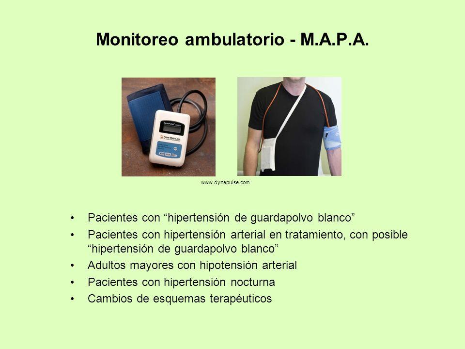 Monitoreo ambulatorio - M.A.P.A. Pacientes con hipertensión de guardapolvo blanco Pacientes con hipertensión arterial en tratamiento, con posible hipe