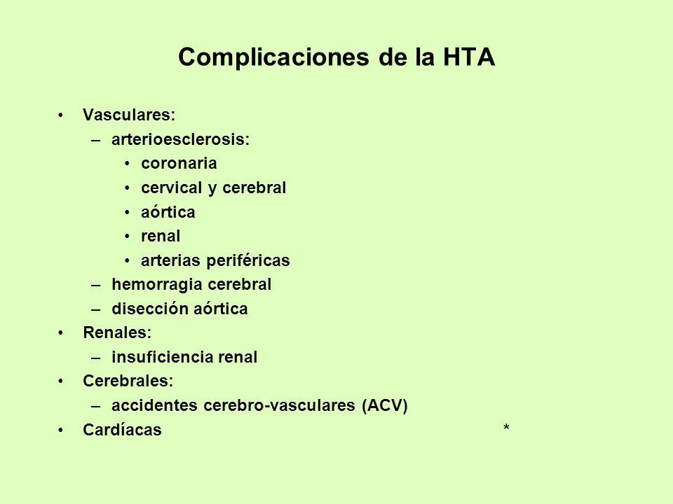 Complicaciones de la HTA Vasculares: –arterioesclerosis: coronaria cervical y cerebral aórtica renal arterias periféricas –hemorragia cerebral –disecc