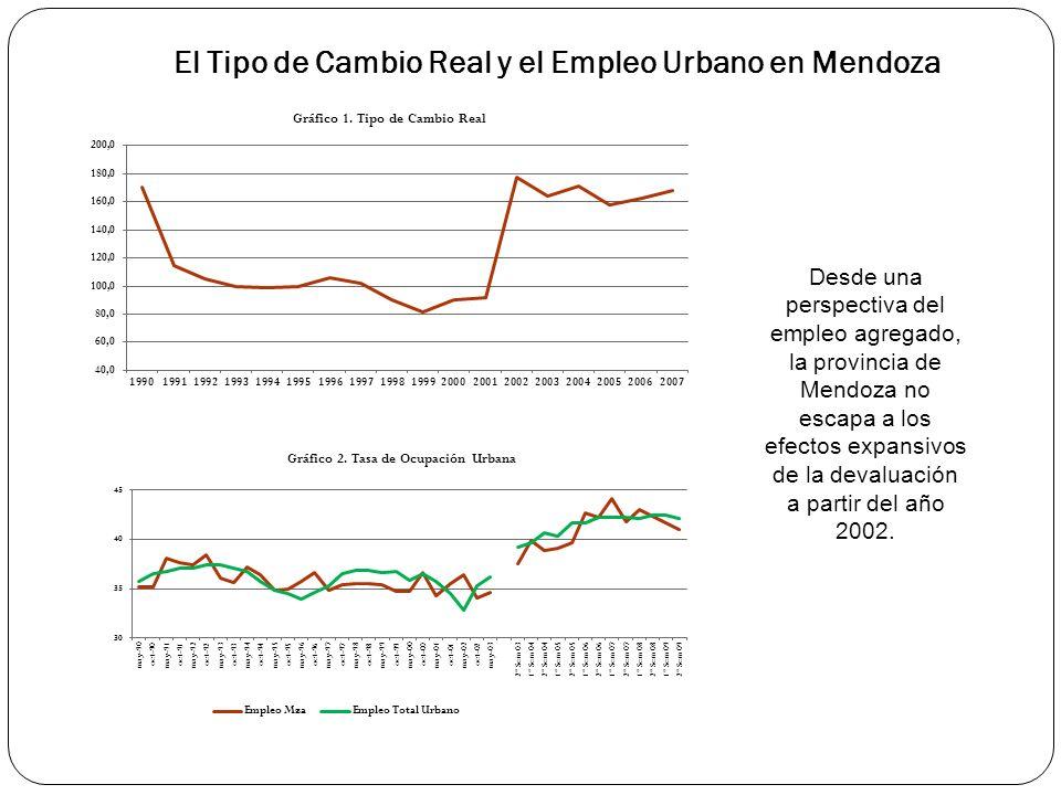 El Tipo de Cambio Real y el Empleo Urbano en Mendoza Desde una perspectiva del empleo agregado, la provincia de Mendoza no escapa a los efectos expansivos de la devaluación a partir del año 2002.