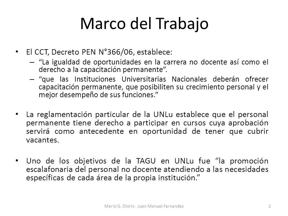 Marco del Trabajo El CCT, Decreto PEN N°366/06, establece: – La igualdad de oportunidades en la carrera no docente así como el derecho a la capacitación permanente.