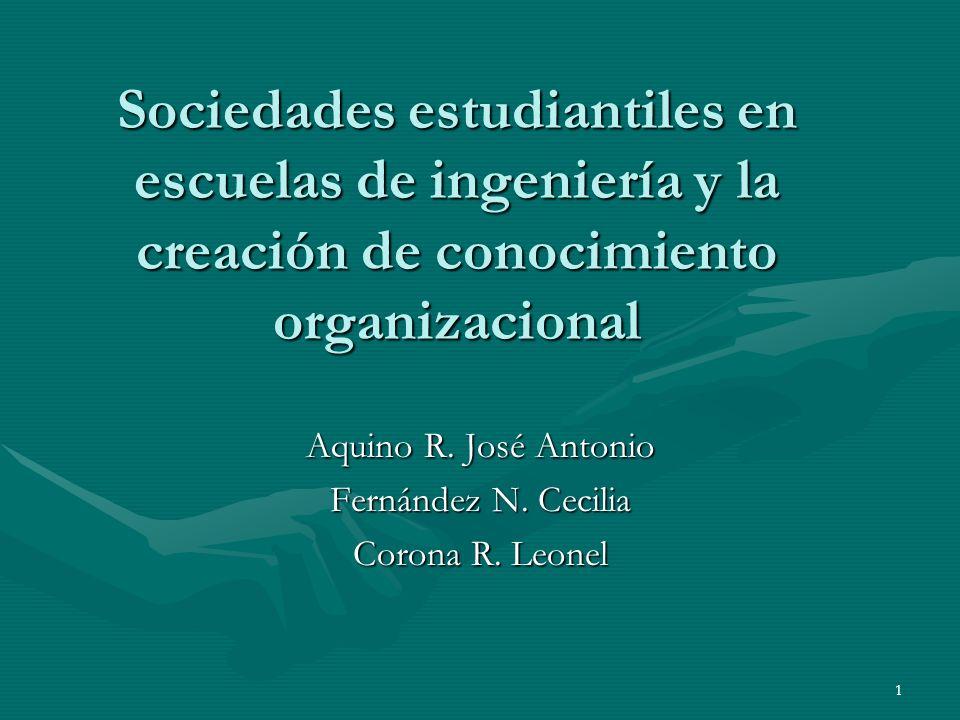 1 Sociedades estudiantiles en escuelas de ingeniería y la creación de conocimiento organizacional Aquino R. José Antonio Fernández N. Cecilia Corona R