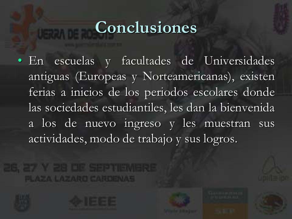 14 Conclusiones En escuelas y facultades de Universidades antiguas (Europeas y Norteamericanas), existen ferias a inicios de los periodos escolares do