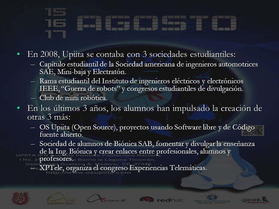 15 En 2008, Upiita se contaba con 3 sociedades estudiantiles:En 2008, Upiita se contaba con 3 sociedades estudiantiles: –Capítulo estudiantil de la So